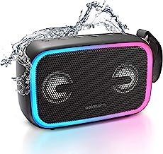 Altavoz Bluetooth impermeable IPX7, Asimom 28 W portátil al aire libre con bajo mejorado, Bluetooth 5.0, emparejamiento estéreo inalámbrico, tiempo de reproducción 12H, luz LED impulsada por ritmo nueva versión