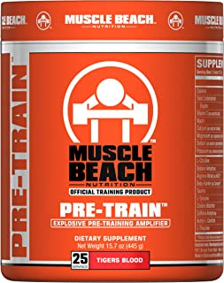 Muscle Beach Nutrition Pre-Train 25 Servings (Tigers Blood) Pre Workout Nitrate Supplement