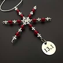 13.1 Ornament - Beaded Snowflake 13.1 Half Marathon Christmas Ornament/Gift Tag with Round Pewter 13.1 Charm with Jewelry Box - Handmade with Red Vintage Beads