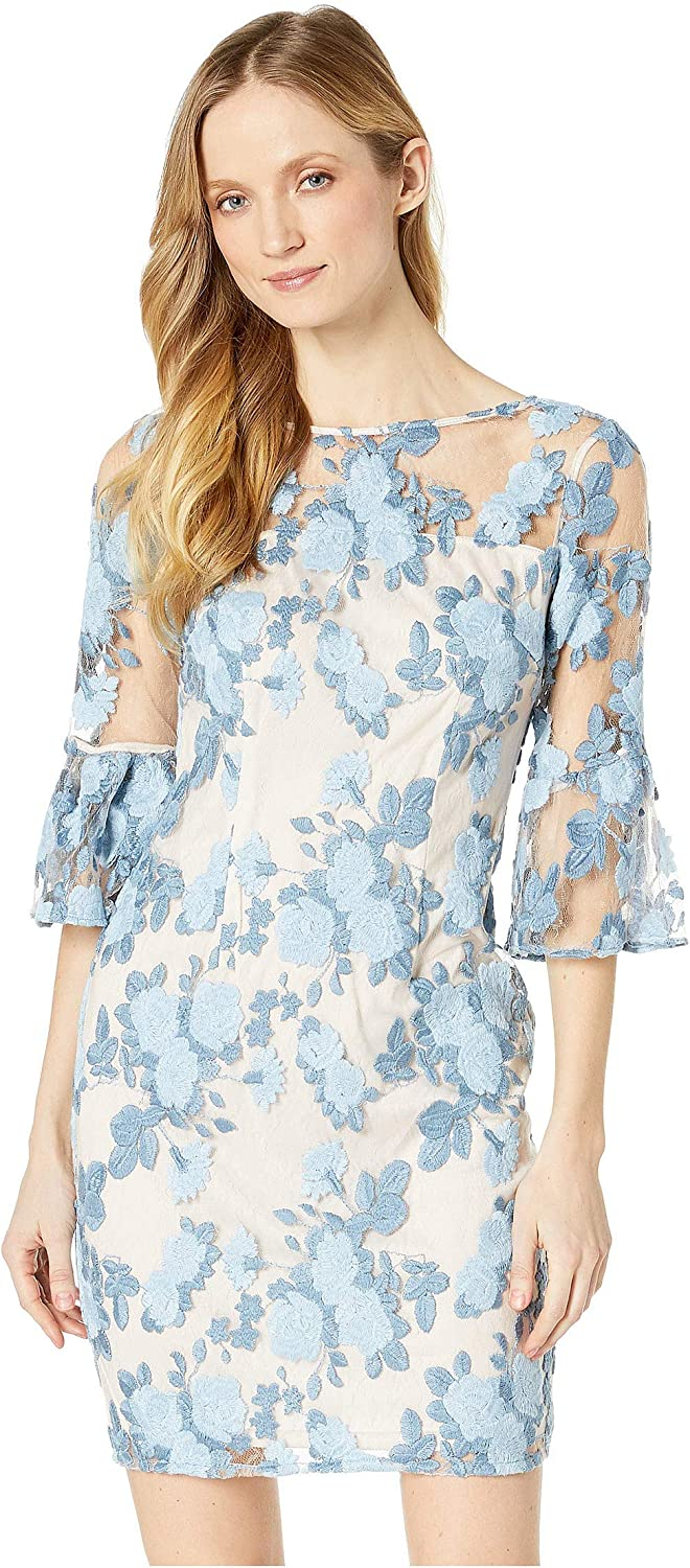 Adrianna Papell Women's Embroidered 3/4 Sleeve Sheath