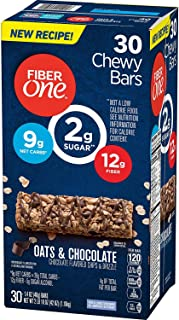 Fiber One Chewy Bars Oats & Chocolate 30- 1.4 Oz Bars (Pack of 2)