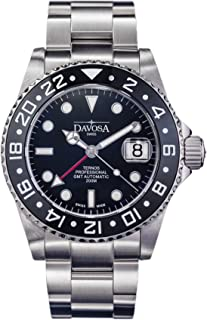 Davosa Swiss Made Professional Men Watch, Ternos Automatic Illuminated Analog Display with GMT Dual Time, Stylish Wrist Band & Ceramic Bezel