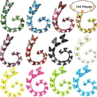 IDEASY 144 PCS 3D Crafts Lively Butterfly Removable Mural Stickers Wall Stickers Decal Home Room Decoration, 12 Colors 1 Sheet Dot Glue Stickers per Pack