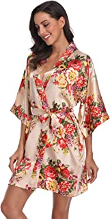 Women's Satin Floral Robes Short Bride and Bridesmaids Robe for Wedding