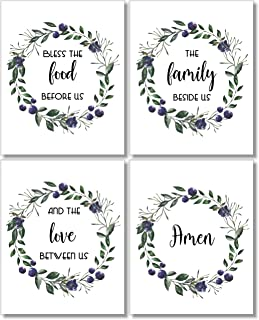Dining Room Decor - Bless The Food Before Us Wall Art Prints - (Set of 4) - 8x10 - Unframed - Floral Wreaths