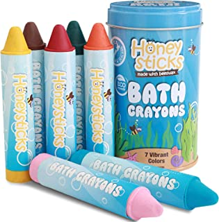 Honeysticks Beeswax Bath Tub Crayons for Toddlers & Kids, Non-Toxic, Washable & Easy Clean Up, Water Soluble Bath-Time Fun, Food Grade Pigments, Handmade in New Zealand (7 Pack)