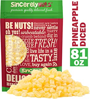 Sincerely Nuts Diced Pineapple (5 LB)-The Perfect Healthy Snack - Vegan, Gluten-Free and Kosher Superfood - Dried Fruit for Yogurts, Trail Mix, and More-Tasty Cooking Staple for Your Favorite Dishes