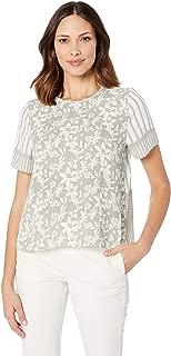Women's Short Sleeve Floral Lace Mix Print Blouse