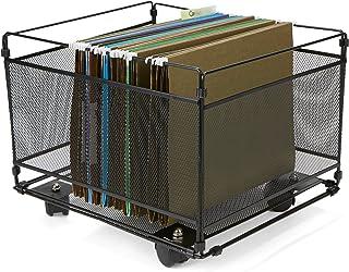 Mind Reader FILEROLL-BLK Portable Rolling Metal Mesh Box File, Document, Folder Sorter Organizer, Black