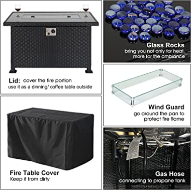 JULY'S SONG Gas Fire Pit Table Outside Propane Firepits with Wind Guard for Patio Deck, Outdoor Fireplace 50,000 BTU 43″