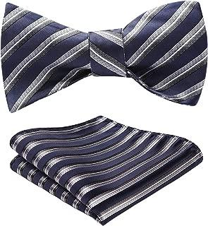 HISDERN Men's Stripe Check Jacquard Woven Wedding Party Self Bow Tie Set