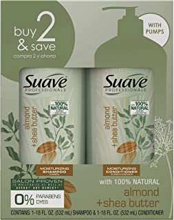 Suave Professionals Moisturizing Shampoo and Conditioner Almond + Shea Butter 18 oz, 2 count