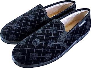 Dunlop - Homme Confortables Eponge Memory Foam Fourrées Peluche Plaid Chaussons Pantoufles Mocassin