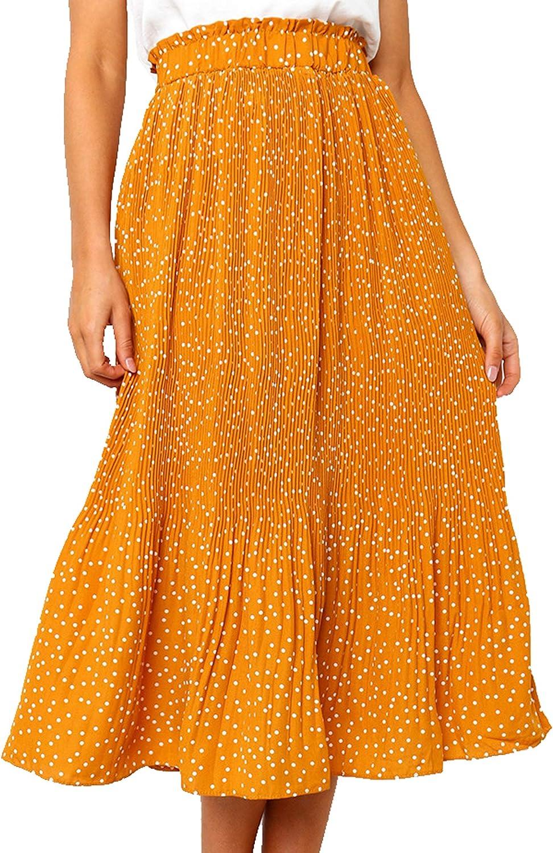 Murimia Womens High Waist Polka Dot Flared Skirt Pleated Midi Skirt with Pocket