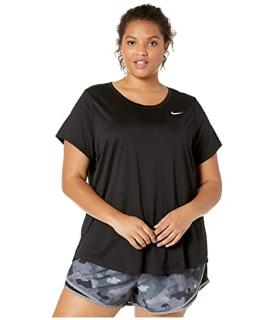 Nike Dry Legend Crew Tee (Sizes 1X-3X) (Black/White 1) Women