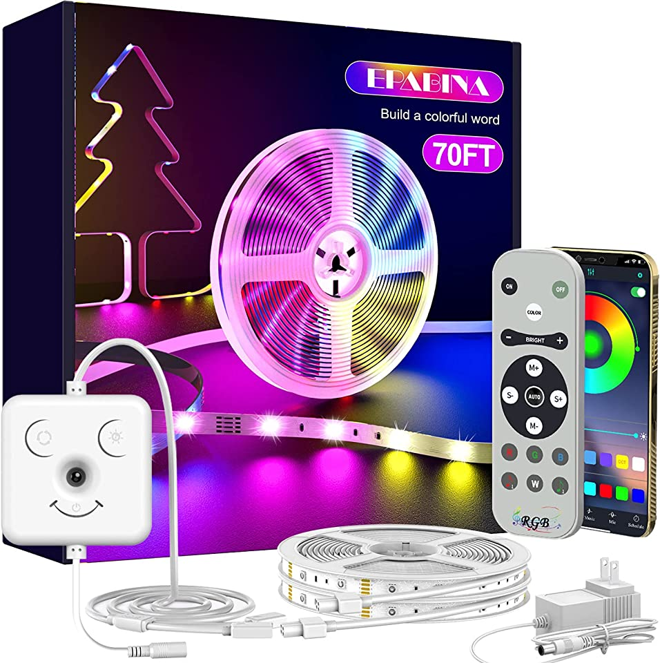 Led Strip Lights for Bedroom, 70ft Bluetooth APP Music Sync Led Light Strips Color Changing Long RGB Lights Super Bright Rope Lights with Smile Face Controller & Mic Remote Home Kitchen Decorations
