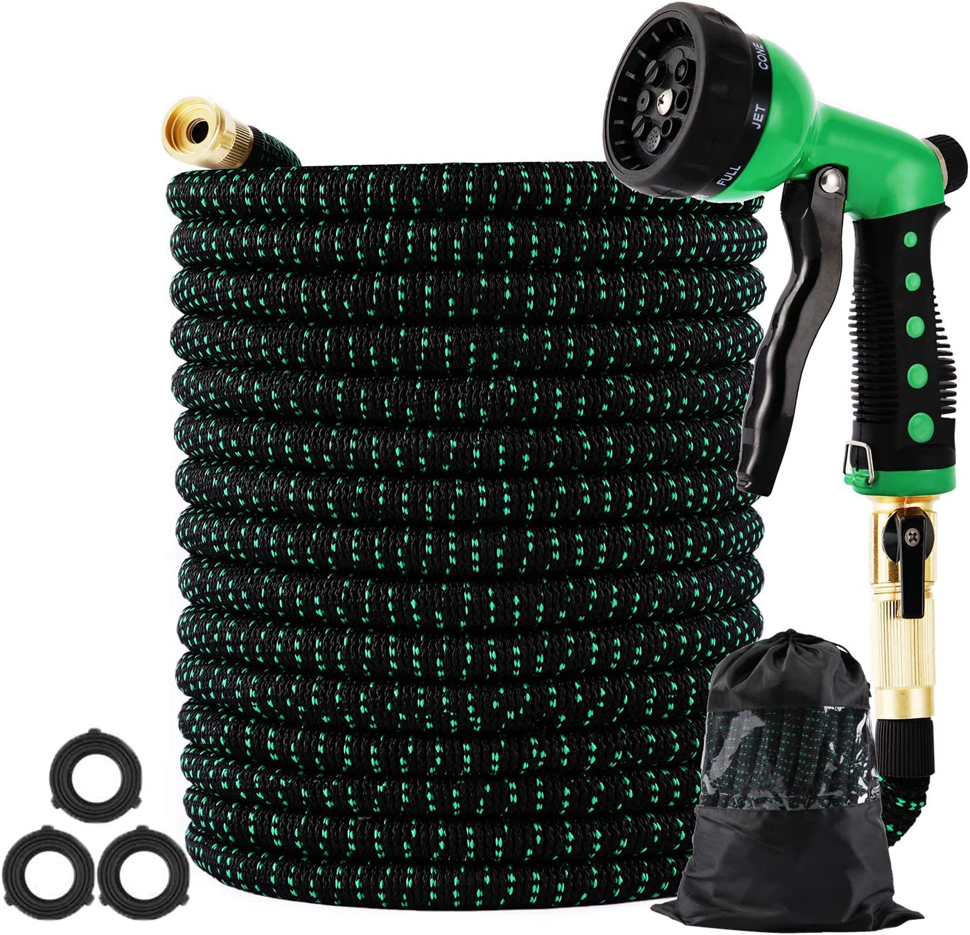 Expandable Garden Hose 150ft Collapsible, Kink Free Retractable Water Hose Pipe Lightweight with 8 Function High Pressure Spray Nozzle,3750D Durable 3 Layers Latex Core with 3/4