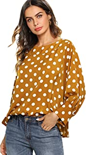 Women's Boat Neck Polka Dots Batwing Sleeve Loose Top Blouse