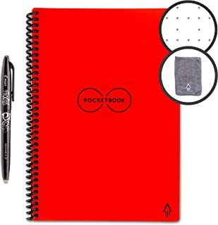 Rocketbook Smart Reusable Notebook - Dotted Grid Eco-Friendly Notebook with 1 Pilot Frixion Pen & 1 Microfiber Cloth Included - Atomic Red Cover, Executive Size (6