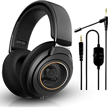 Philips SHP9600 Wired, Over-Ear, Headphones, Comfort Fit, Open-Back 50 mm Neodymium Drivers (Black) + NeeGo Attachable Microphone for Headphones - Gaming and Communication