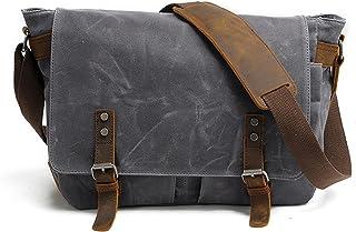 Men's Canvas Leather Messenger Bag Shoulder Crossbody School Laptop Bag Satchel 14 Inch (M49_Dark Gray)