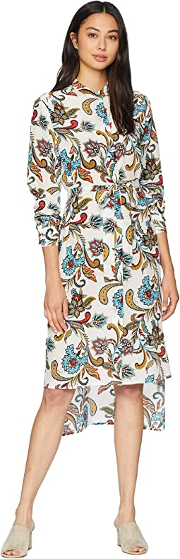 Ornate Floral Paisley Silk Shirtdress
