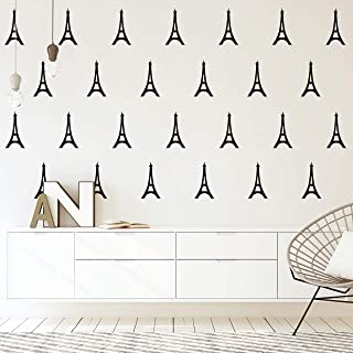 Eiffel Tower Wall Decal, Nursery Pattern Decal, Vinyl Decal for Kids Bedroom Living Room Office, Wall Decals Nursery(Y14) (Black)