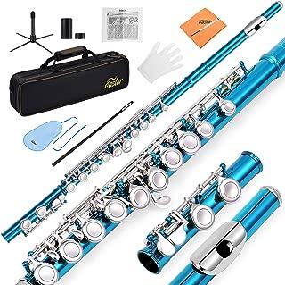 Eastar EFL-1SB 16 Keys C Flute Close Hole Instrument Nickel Plated Sky Blue Beginner Flute Set With Fingering Chart,Hard Case, Cleaning Rod, Stand, Strap, Gloves
