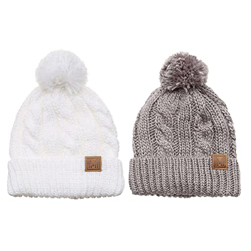 71d3a0939c7 MIRMARU Winter Oversized Cable Knitted Pom Pom Beanie Hat with Fleece  Lining.