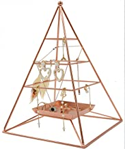 Mukily 3 Tier Pyramid Hanging Jewelry Organizer, Metal Jewelry Display Stand with Tray, Decorative Tower Holder Storage Rack for Earring, Necklace, Bracelet and Accessories