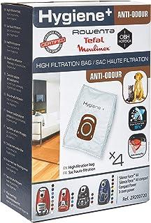Rowenta Lot de 4 sacs Hygiène+, Anti-odeur, Compatibles avec les aspirateurs traineau Compact Power, Power XXL, Silence Fo...