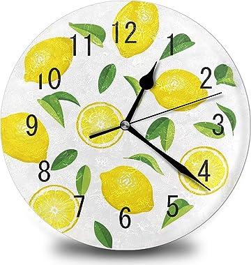Yellow Fresh Lemon Fruit Kitchen Home 12 Inch Silent Vintage Design Wooden Round Wall Clock Arabic Numerals Design Non Tickin