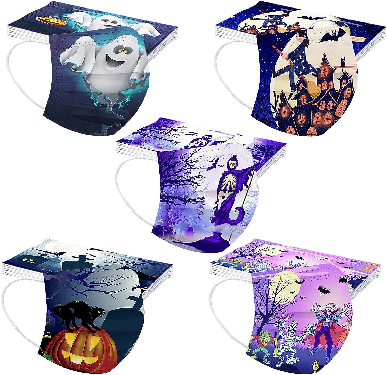 Hundakvy 50 piezas Halloween Infantiles_Mascarillas_Desechables niños Protección_de_3_Capas Calabaza Murciélago Bruja Fantasma Estampado para Víspera de Todos los Santos