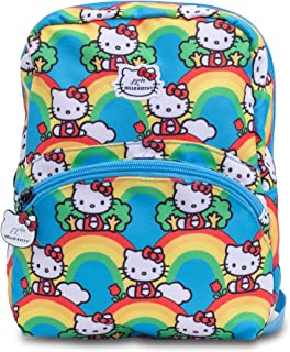 JuJuBe x Hello Kitty   Petite Kid's Backpack   Lightweight Backpack with Adjustable Straps, Casual Bookbag, Travel-Friendly, For Kids and Adults   Hello Rainbow