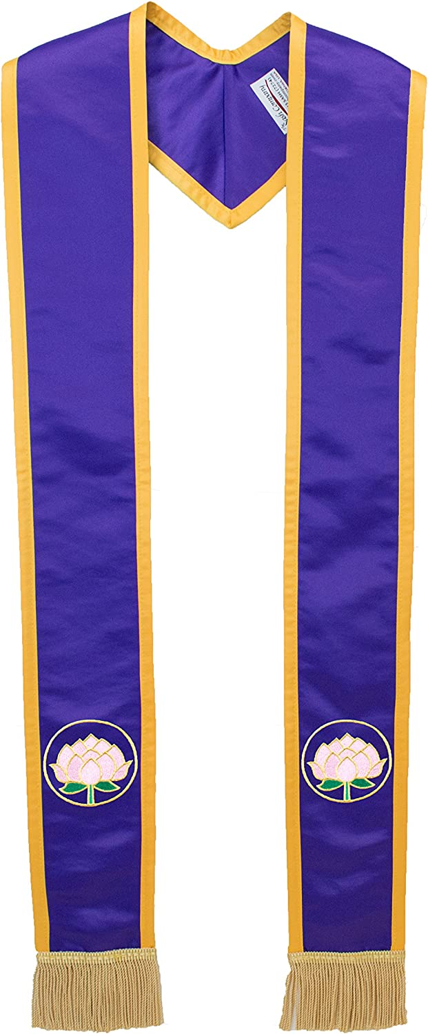 Deluxe Purple Satin Clergy Stole with Embroidered Lotus Flower