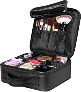 Luxspire Makeup Cosmetic Storage Case Professional Make up Train Case Cosmetic Box Portable Travel Artist Storage Bag Brushes Bag Toiletry Organizer Tool with Adjustable Dividers Black
