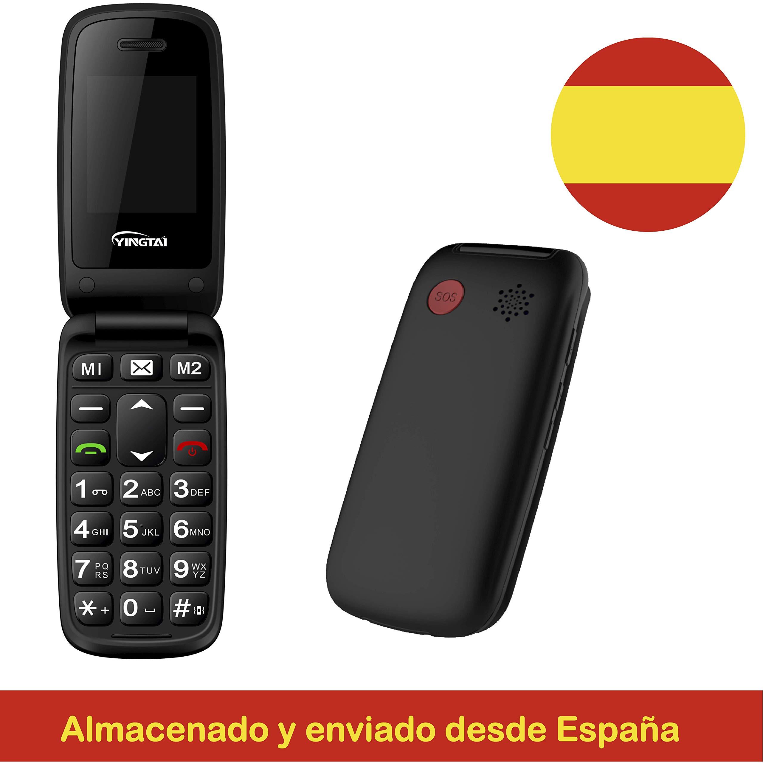 Yingtai T15 Negro, Teléfono Móvil con Tapa para Personas Mayores, Teclas Grandes, Sencillo de Usar, Botón SOS, Teclas De Emergencia con Marcación Rápida, Volumen Alto: Amazon.es: Electrónica