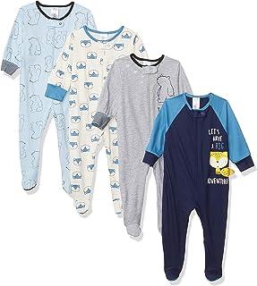 Baby Boys' 4 Pack Sleep N' Play Footie, Bear Fox Blue,...