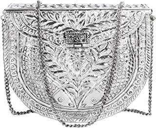 silver Fish carving Bridal Women's Antique Brass Purse Ethnic Handmade Metal Clutch Bag