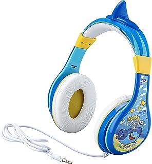 eKids Baby Shark Kids Headphones, Adjustable Headband, Stereo Sound, 3.5Mm Jack, Wired Headphones for Kids, Tangle-Free, Volume Control, Childrens Headphones Over Ear for School Home, Travel