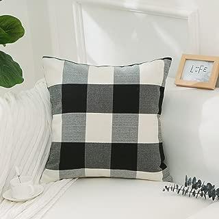 Home Brilliant Black and White Halloween Decorations Buffalo Checkered Plaids Farmhouse Decor Cotton Linen Euro Sham Throw Pillow Cover Floor Cushion Sham Pillowcase Cushion Case for Sofa 26 x 26 Inch