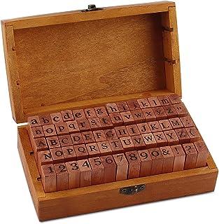 Esportic Tampons Alphabet,Timbres Stamper Seal Set,Tampons en Caoutchouc en Bois Ensemble,70pcs-Timbres avec Chiffres,Lett...