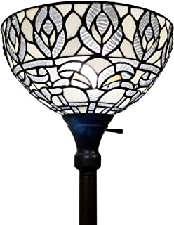 Amora Lighting Tiffany Style Floor Lamp Torchiere Standing Vintage Antique 72