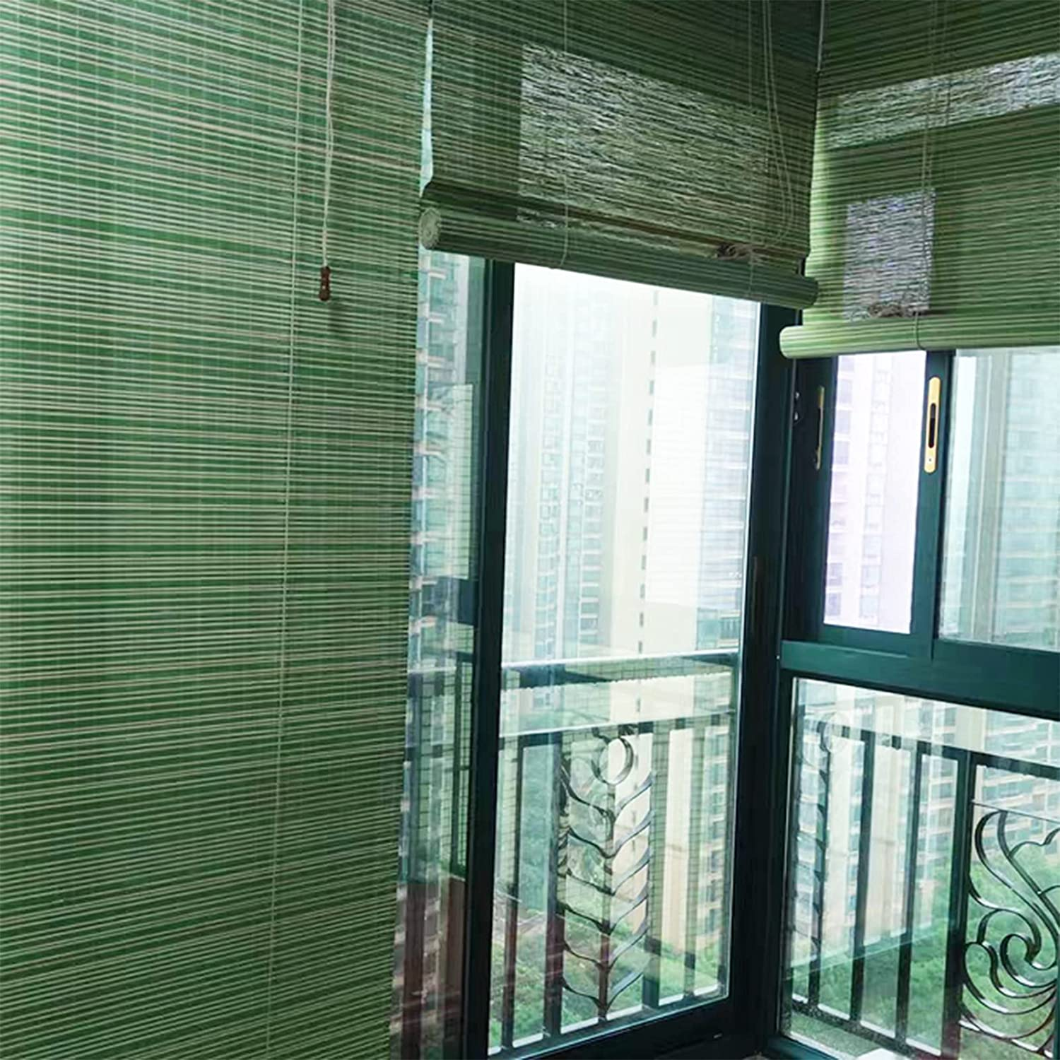 Special price for a limited Fashion time Balcony Blackout Roller Shades Green Bamb White Filtering Light