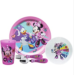 Zak Designs Disney Kids Dinnerware Set Includes Plate, Bowl, Tumbler and Utensil Tableware, Made of Durable Material and Perfect for Kids (Minnie & Daisy, 5 Piece Set, BPA-Free)