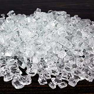 CYS EXCEL Fire Glass for Fire Pit 10 Pounds, Reflective 1/2 inch Fireplace Glass, Rock Outdoor (Reflective, Clear)