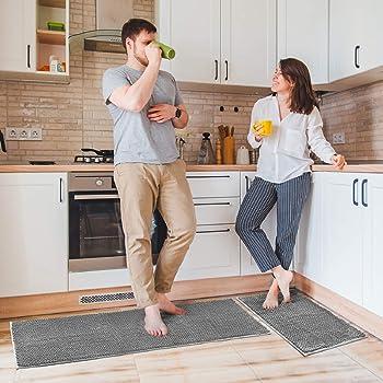 "Delxo Kitchen Rug Sets,2 Piece Non-Slip Soft Super Absorbent Kitchen Mat Doormat Carpet Set,Chenille Microfiber Material, 17""x48"" +17""x24"" (Grey)"