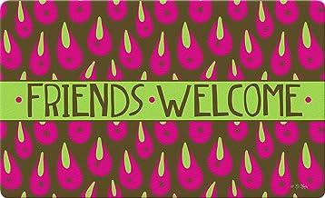 Toland Home Garden Welcome Rain Drops Pink 18 x 30 Inch Decorative Floor Mat Friends Doormat
