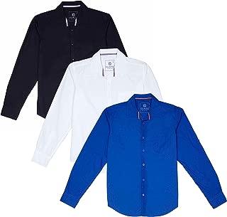 OJASS Men's Solid Casual Black, White, Dark Blue Shirt (Pack of 3)