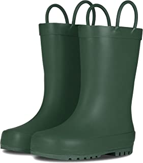 LONECONE Elementary Collection - Matte Rain Boots with Easy-On Handles for Toddlers and Kids